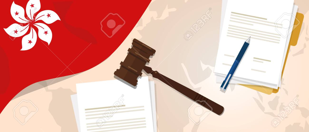 Hongkong law justice judicial trial legal. Document paper and hammer or gavel with flag and map vector - 139672942