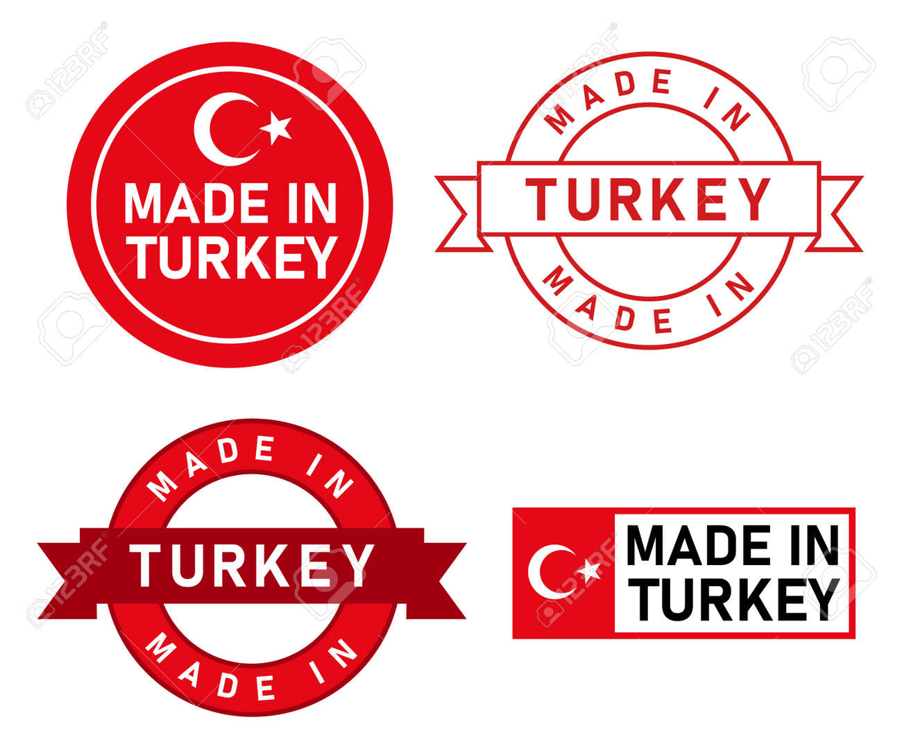 Made in Turkey stamp label graphic template set of product manufactured in country with flag sticker - 169689957