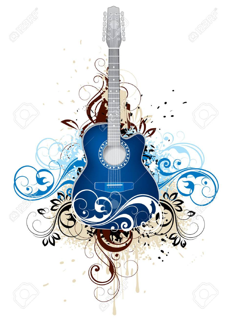 Dark blue guitar Stock Vector - 4294374