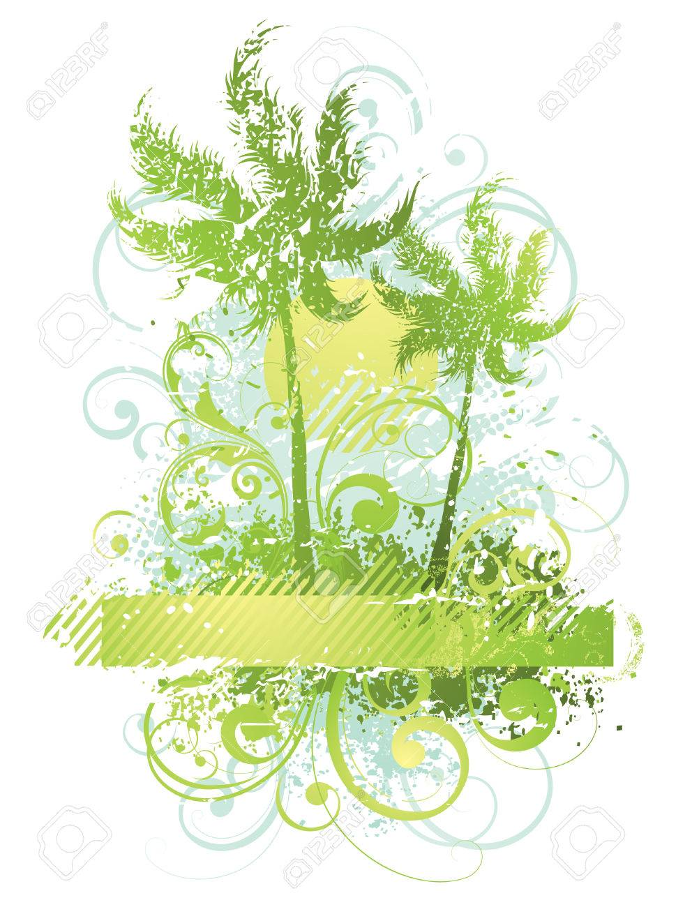 Vector composition with palm trees Stock Vector - 4579424