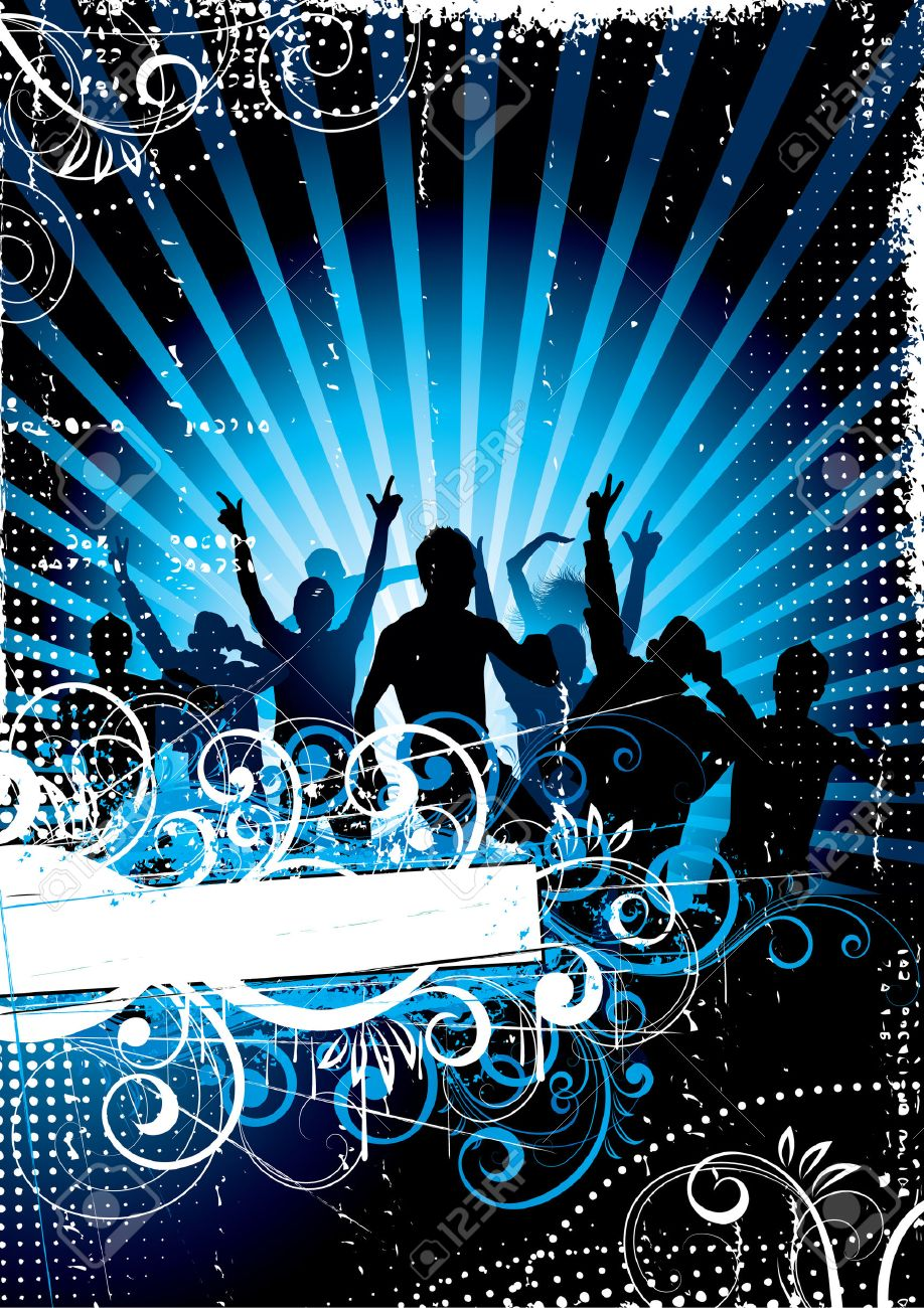 Dancing people in rays of light Stock Vector - 4662187
