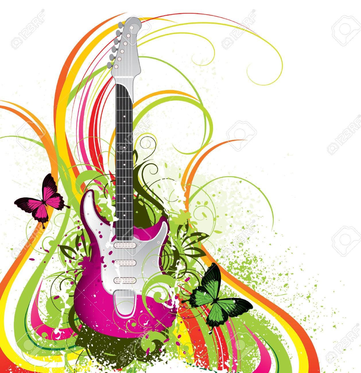 Musical composition with a guitar Stock Vector - 5195281