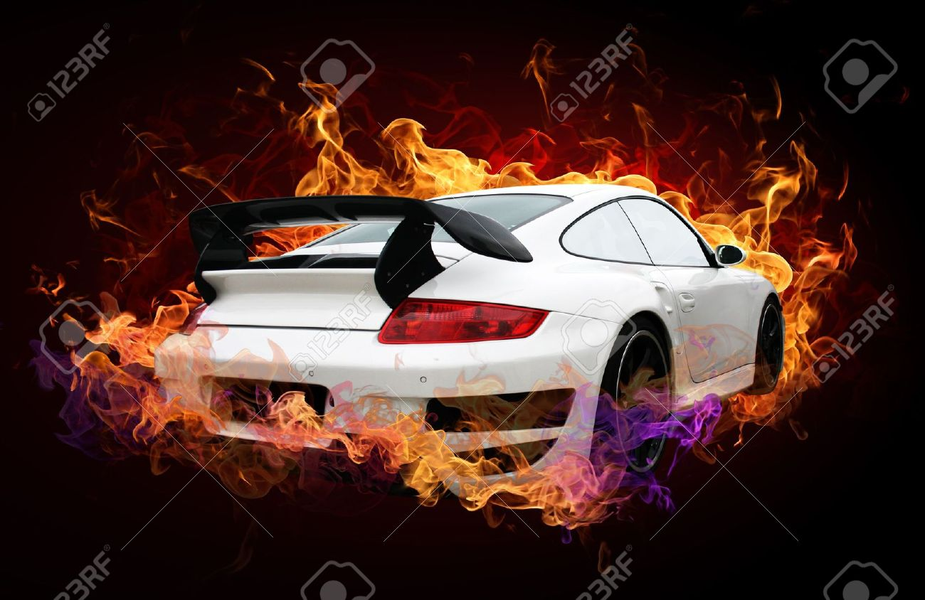 Sports Car Captured By A Fiery Flame On A Dark Background Stock Photo    5566374