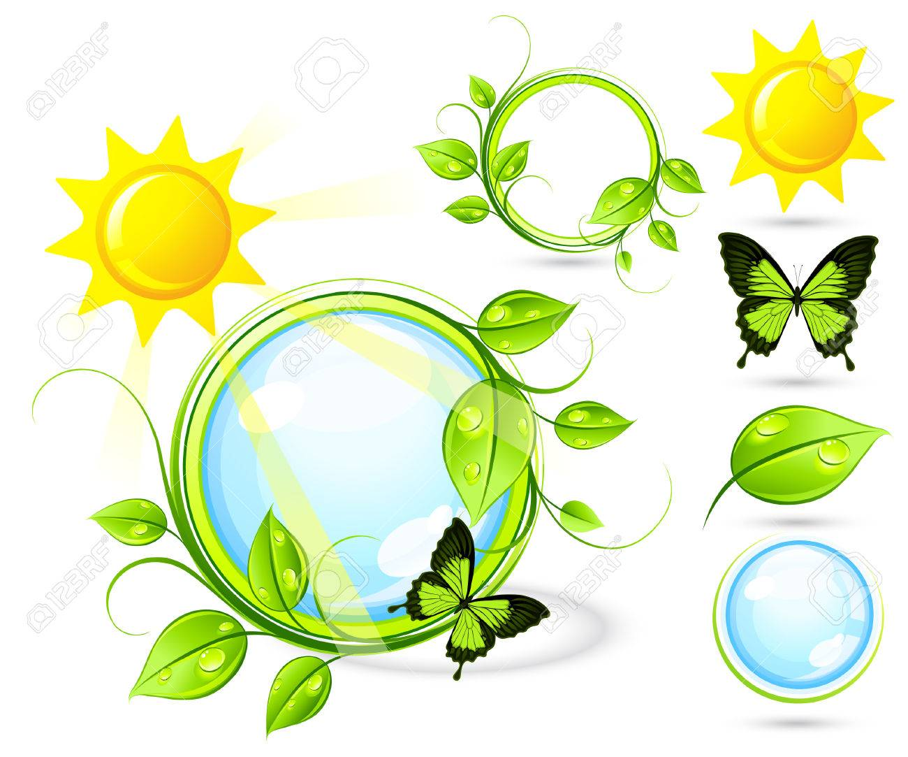 Solar composition with elements Stock Vector - 7163690