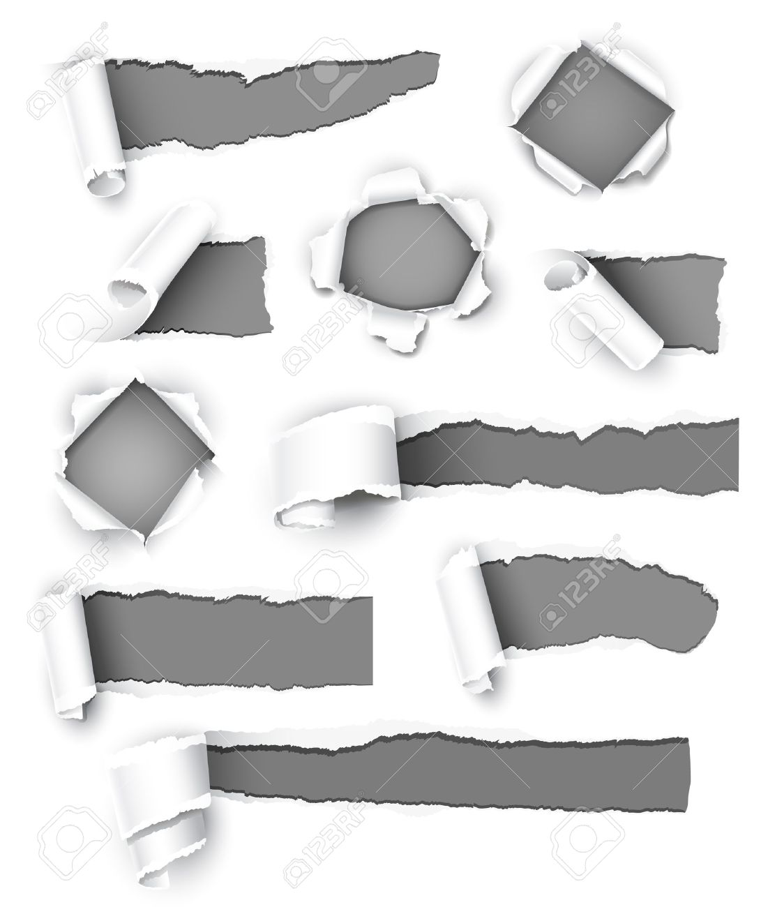 Collection of gray paper. Vector illustration - 9866983