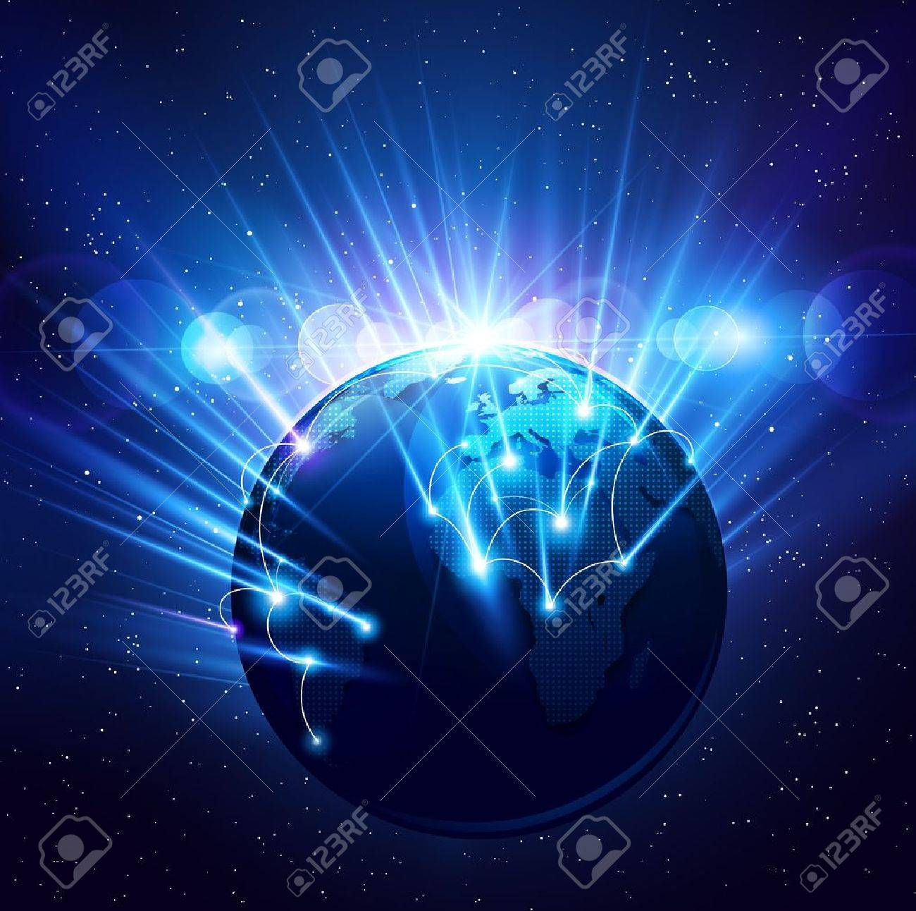 Planet earth in the bright rays of light. Vector Stock Vector - 14554537
