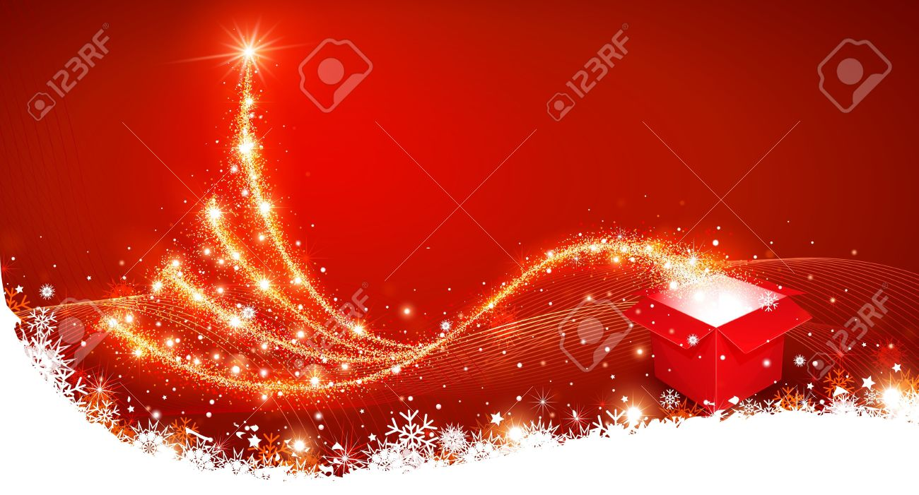 Christmas background with magic box and Christmas Tree Stock Vector - 16640767