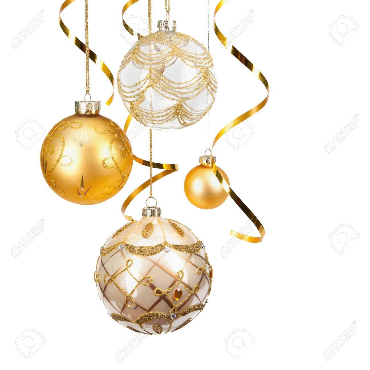 Boules De Noël Dorées Banque Dimages Et Photos Libres De Droits