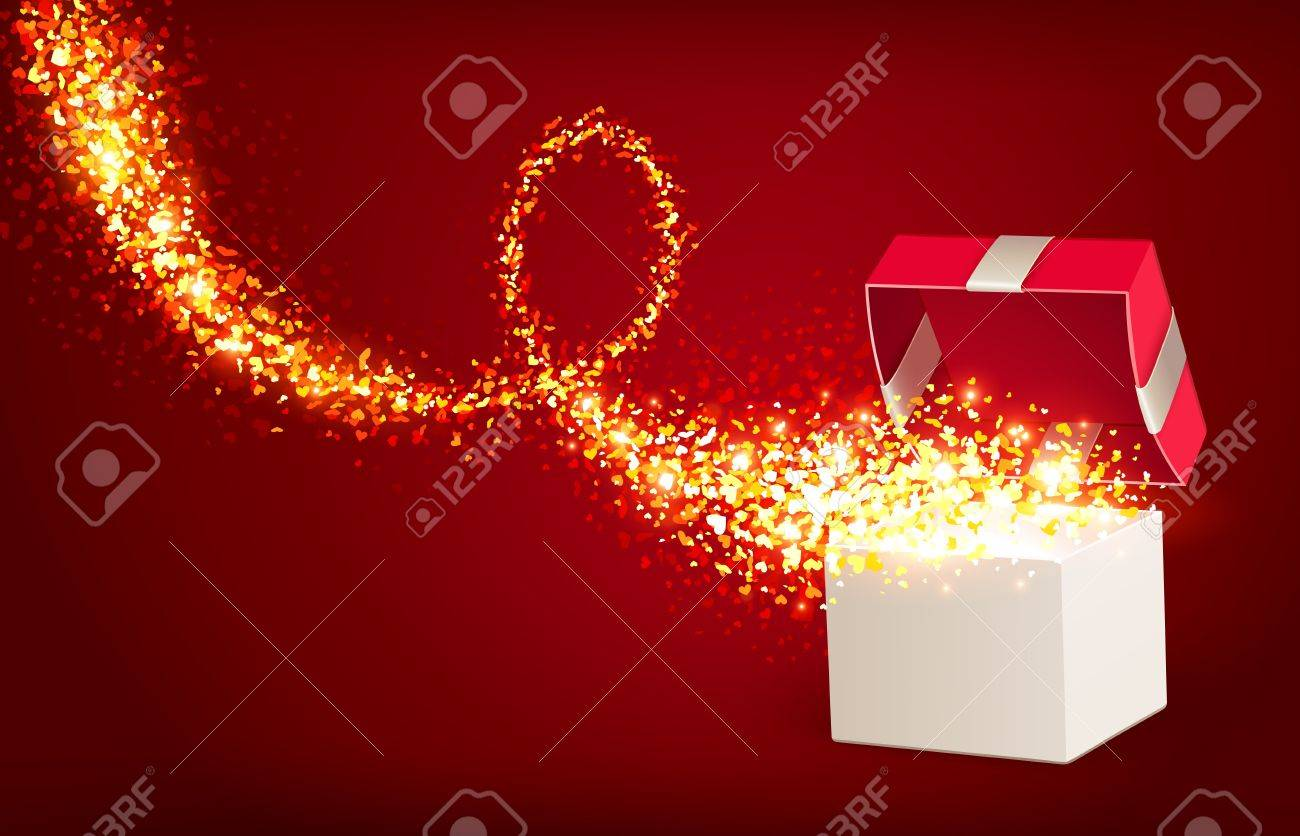 Open gift box with magic hearts Stock Vector - 17438566