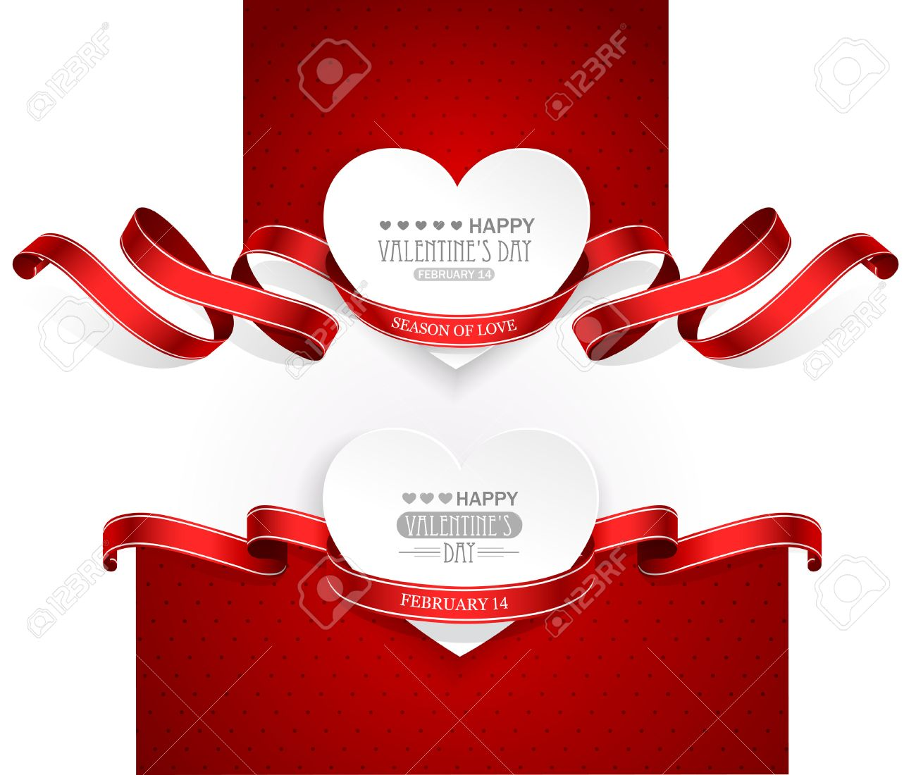 Stock illustration 3d red text quot yes quot stock illustration royalty - Valentine S Valentines Day Emblems With Red Ribbons Vector