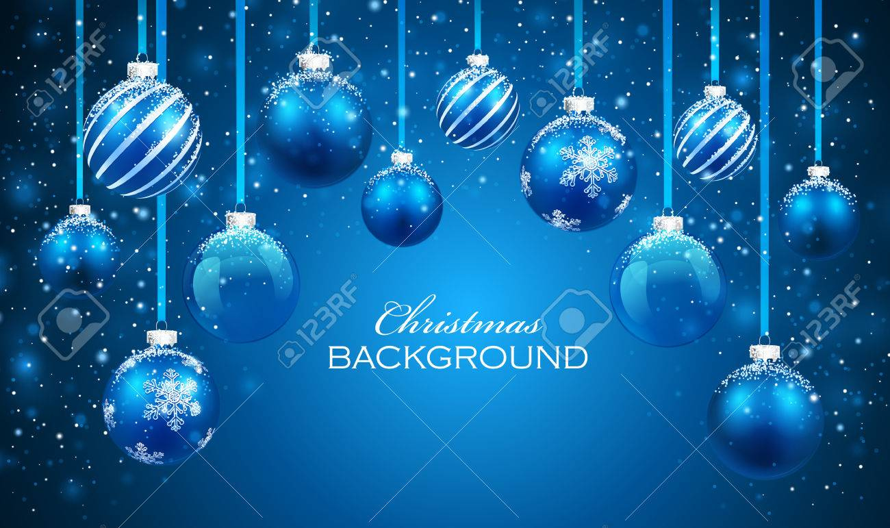Christmas balls on blue background. - 31783996