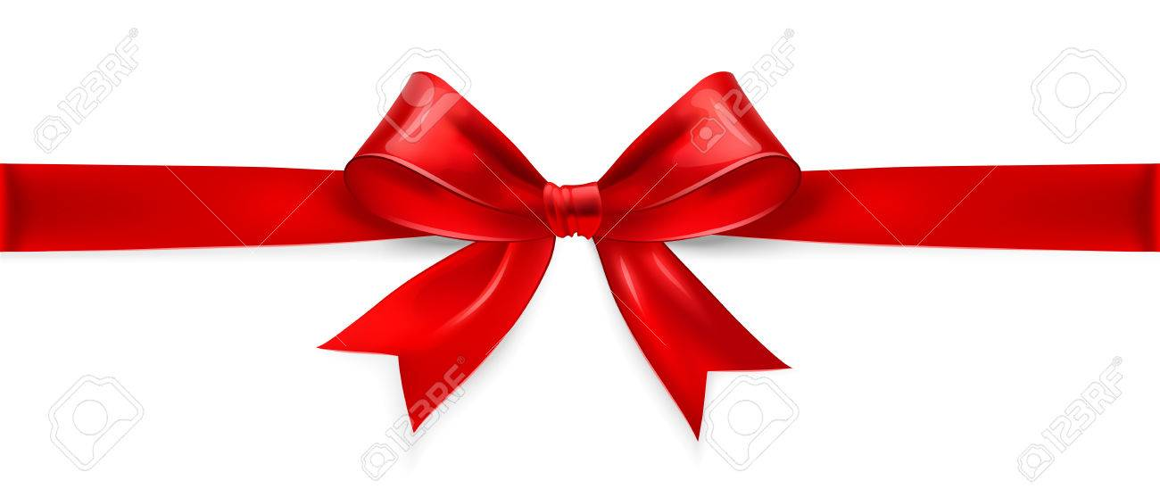 Red satin bow isolated on white background. Vector illustration - 34517011