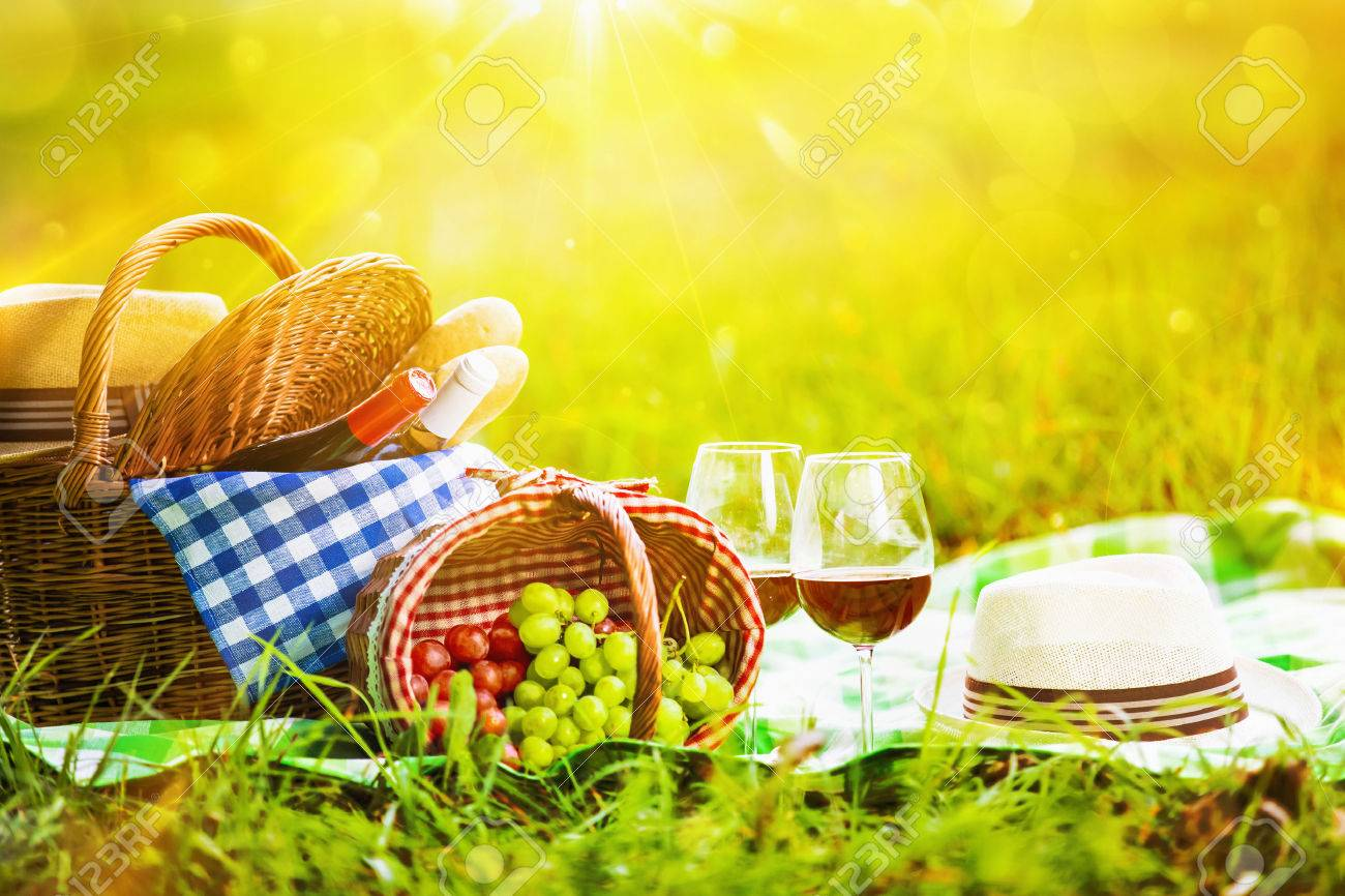 Picnic with wine and grapes in nature. In the sunlight Standard-Bild - 43793326