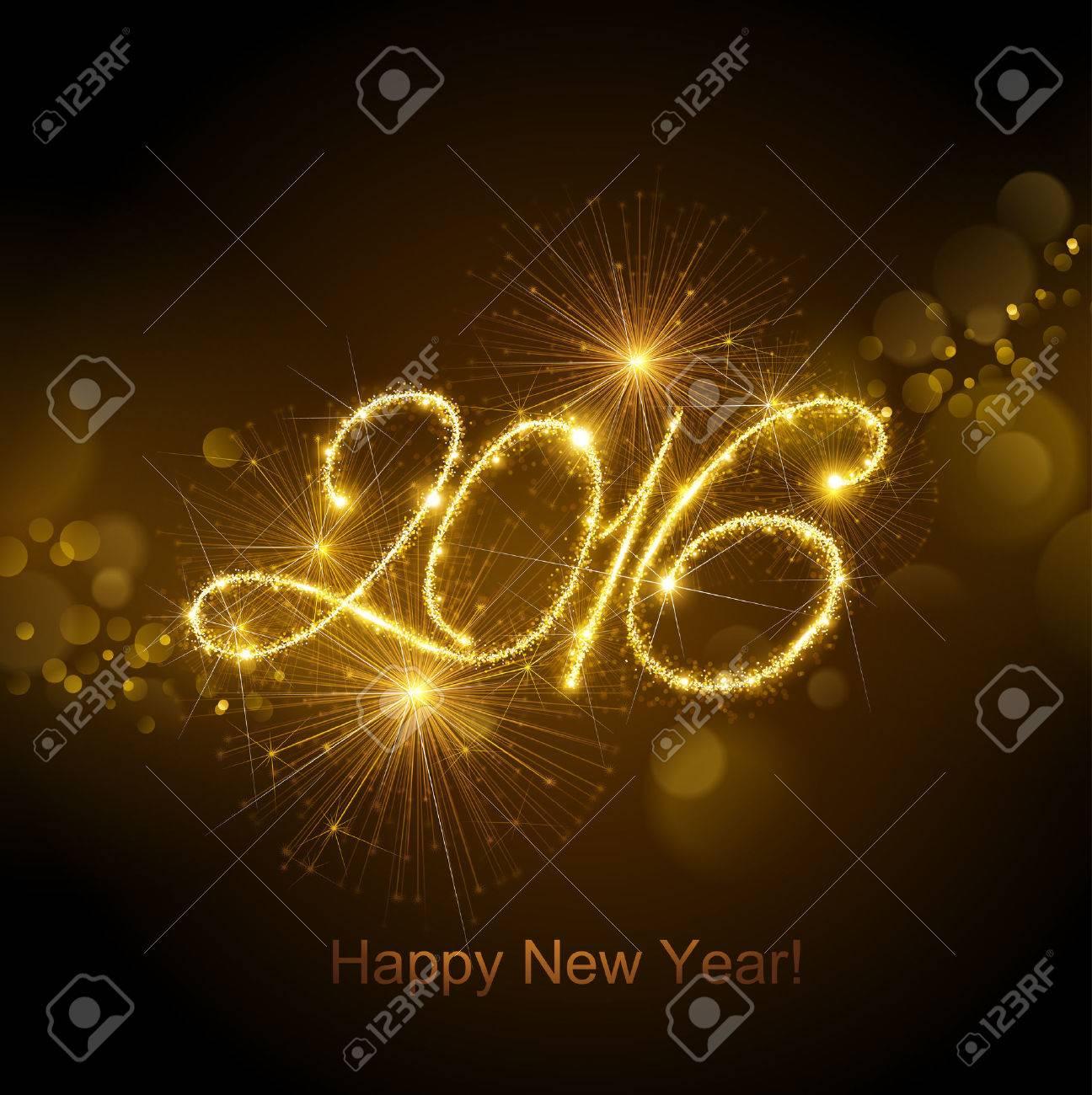 New Year fireworks and confetti 2016. Vector illustration. Standard-Bild - 44614042