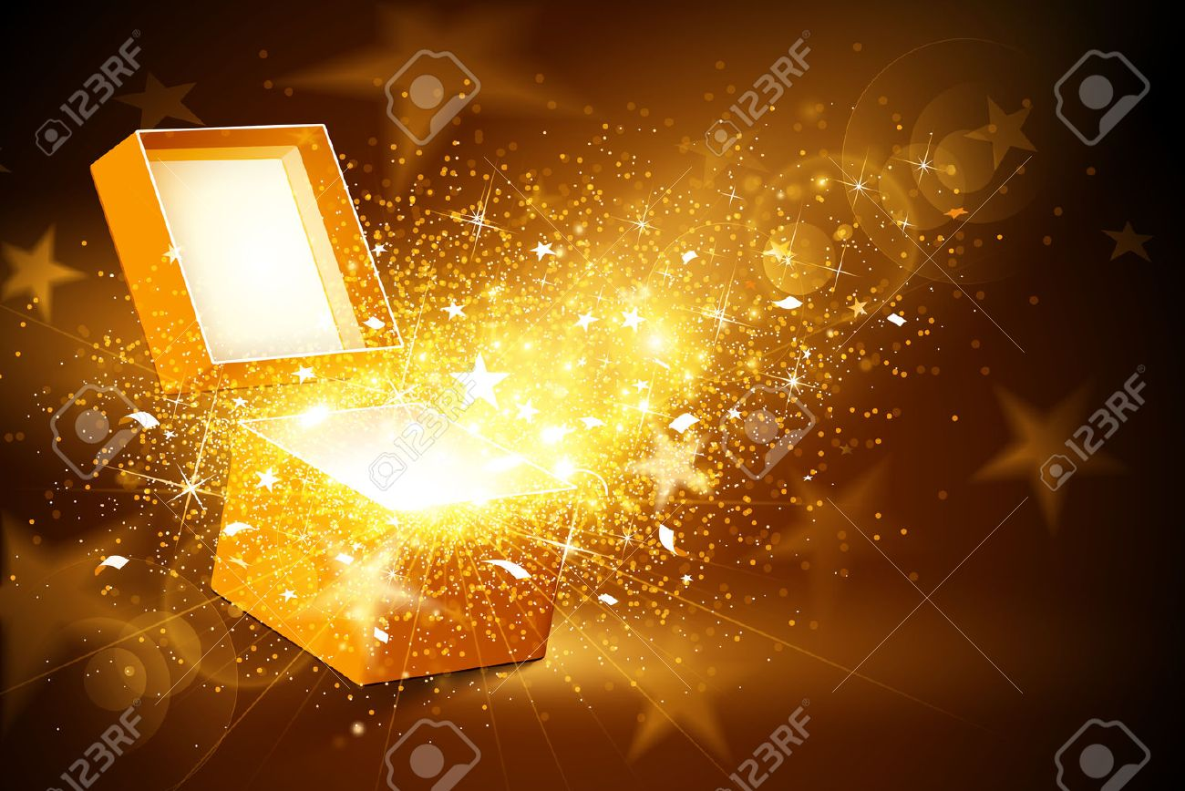 Christmas background with open golden box with stars and confetti Standard-Bild - 44614188