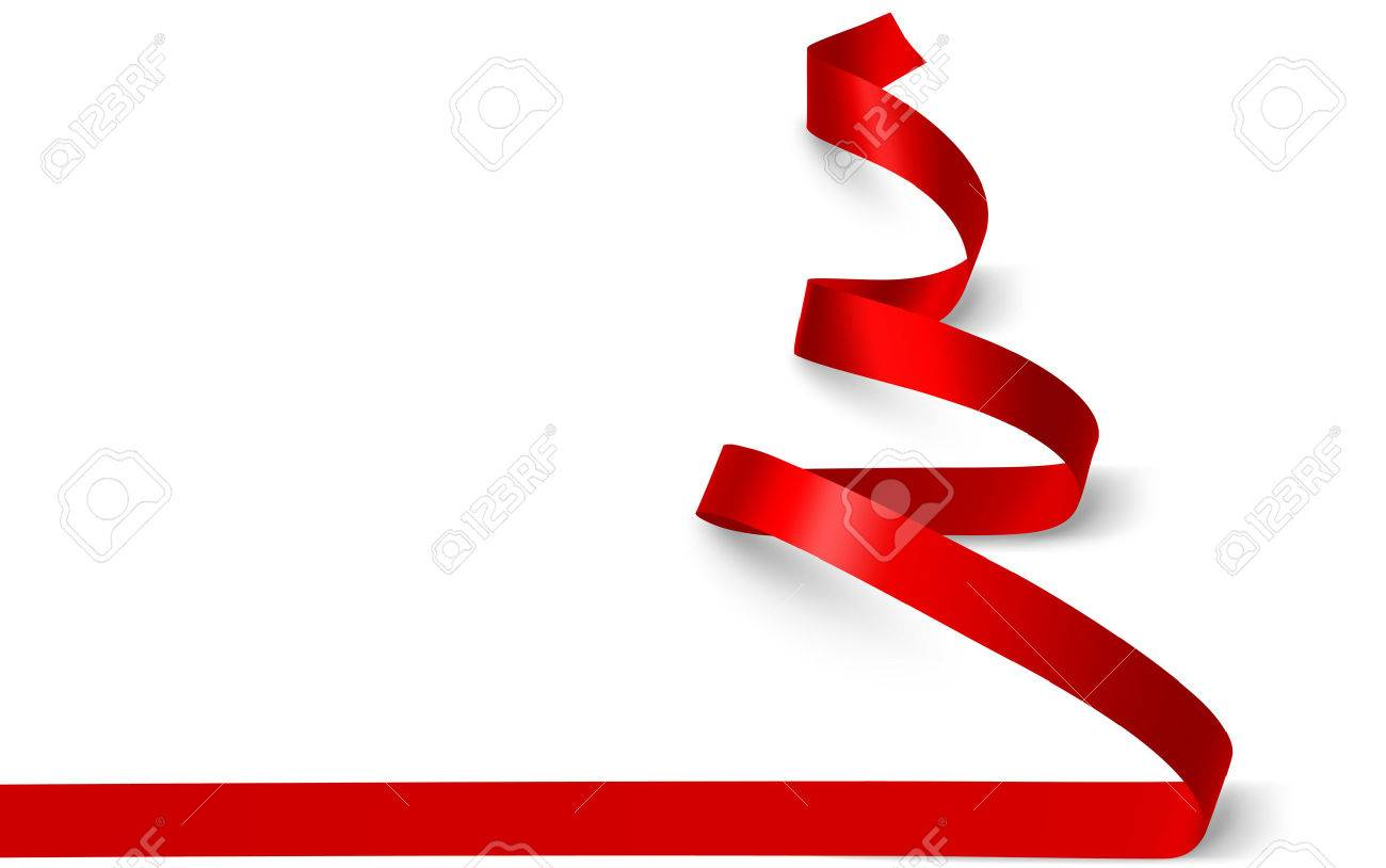 Christmas tree made of red ribbon isolated on white. Vector illustration Standard-Bild - 44614189