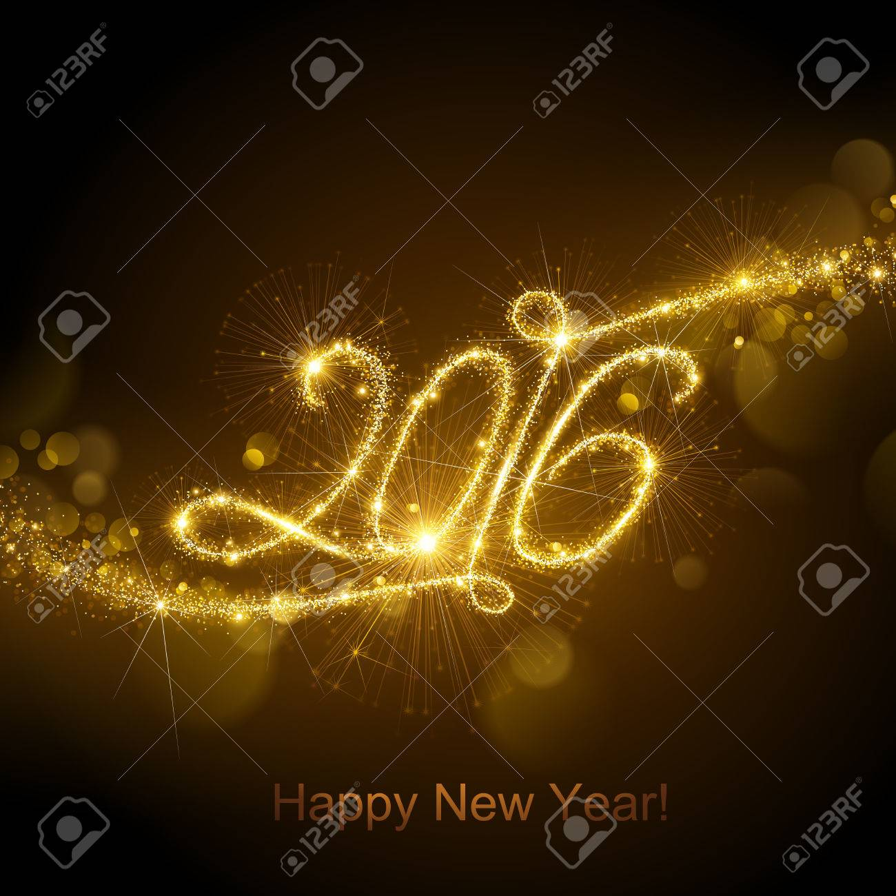New Year fireworks and confetti 2016. Vector illustration. Standard-Bild - 44614203