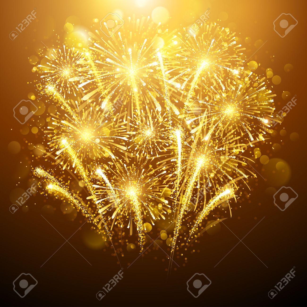 New Year fireworks on dark background. Vector illustration Standard-Bild - 45008893