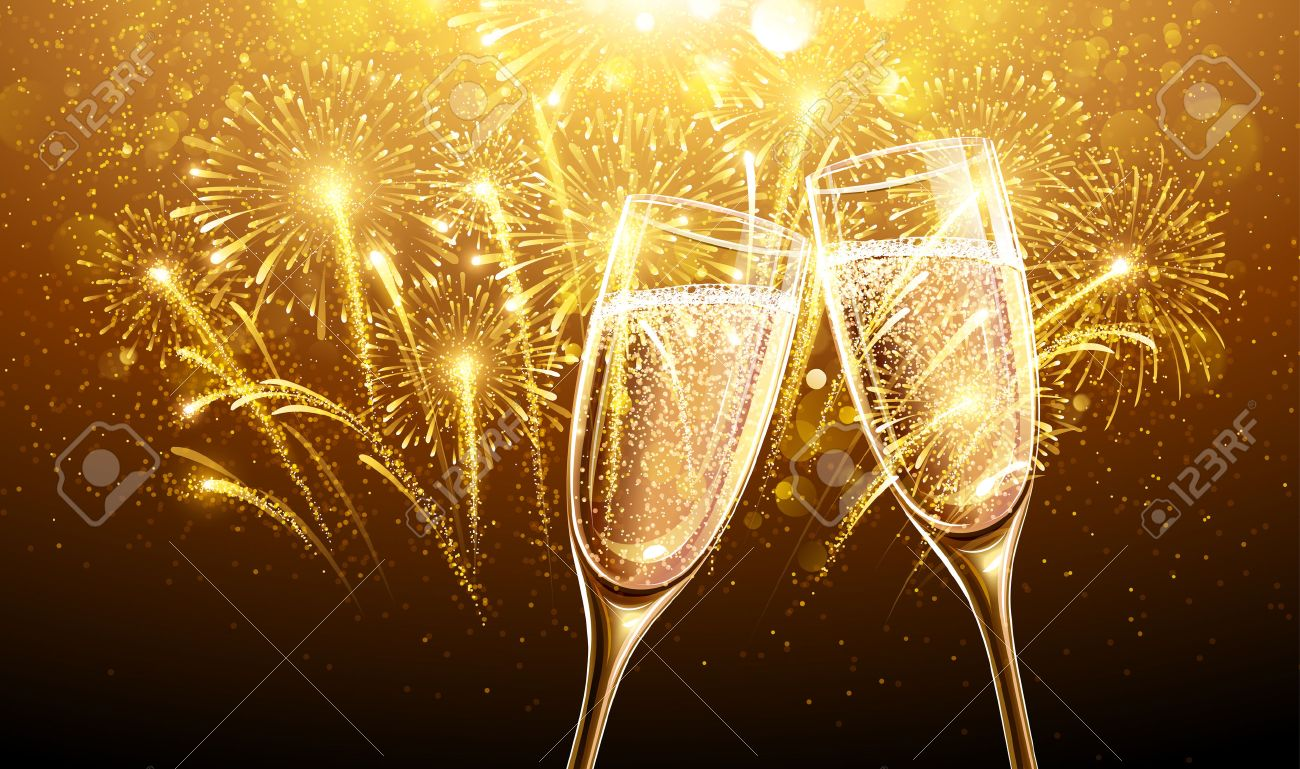 New Year fireworks and champagne glasses. Vector Standard-Bild - 45013681