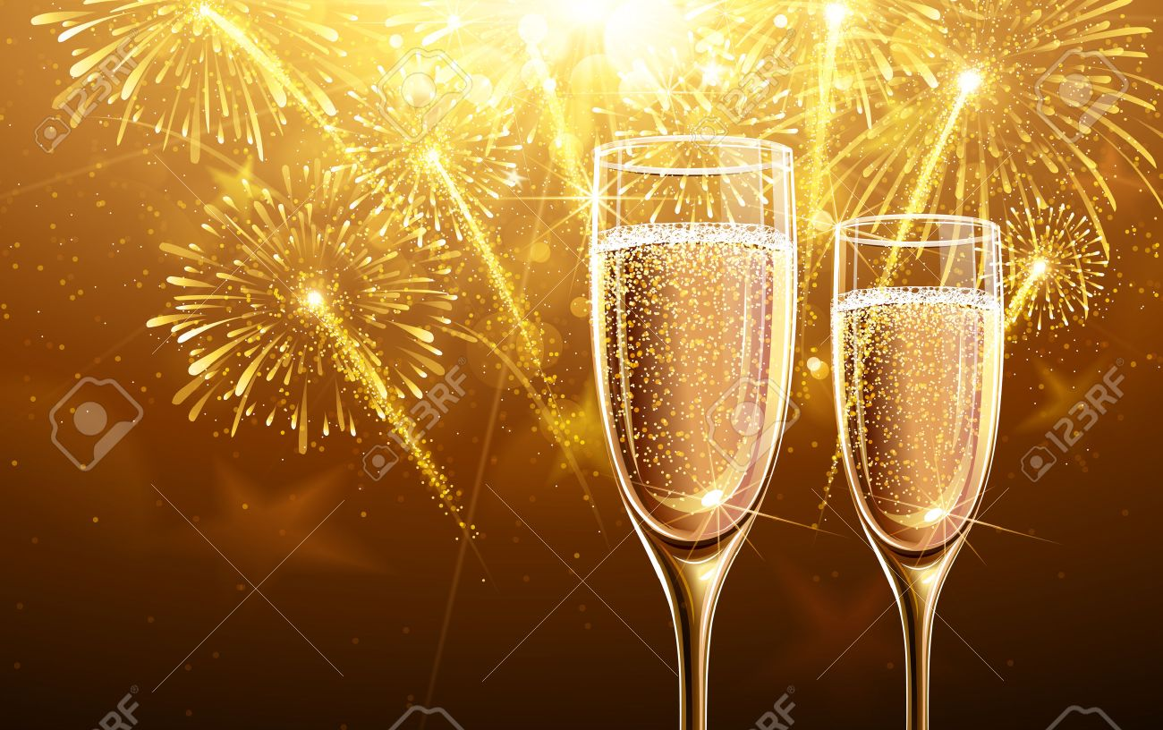 New Year fireworks and champagne glasses. Vector Standard-Bild - 45508673