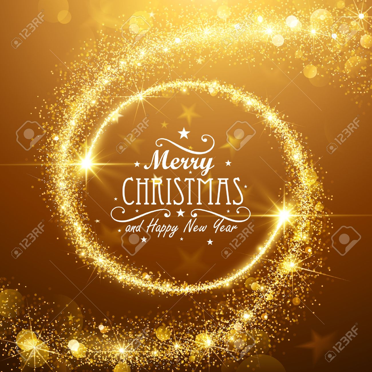 Christmas background with gold magic stars. Vector illustration Standard-Bild - 45597978