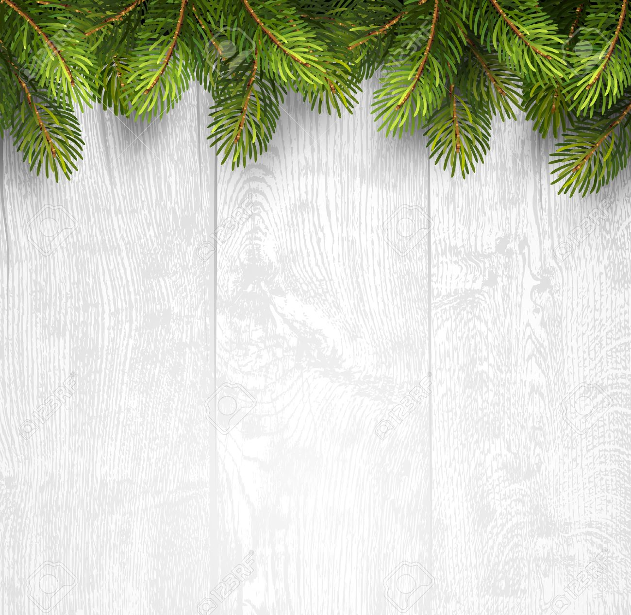 Christmas wooden background with fir branches. Vector illustration Standard-Bild - 45597985