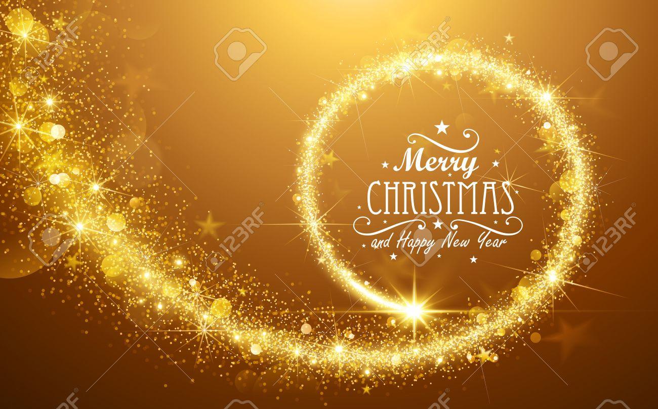 Christmas background with gold magic star. Vector illustration Standard-Bild - 45597990