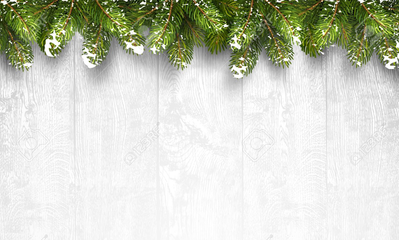 Christmas wooden background with fir branches and snow. Vector illustration Standard-Bild - 45597991