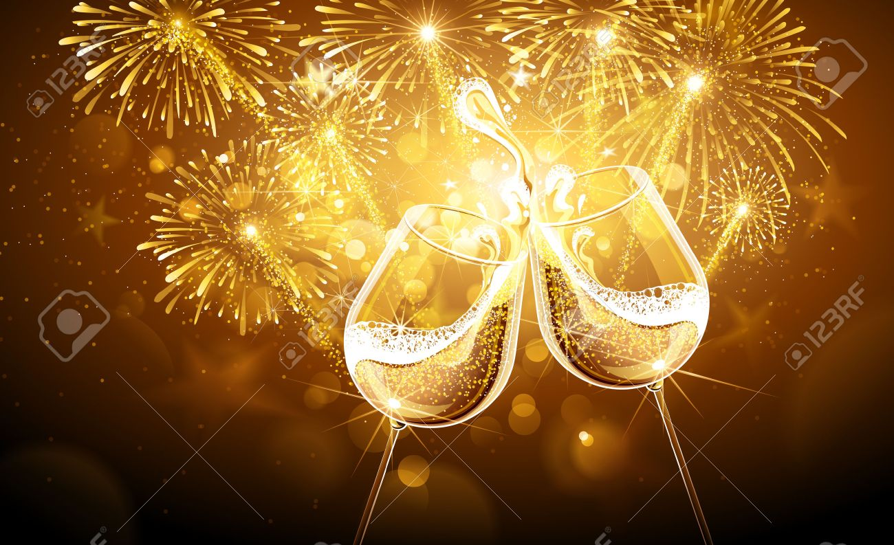 New Year fireworks and champagne glasses. Vector Standard-Bild - 46562459