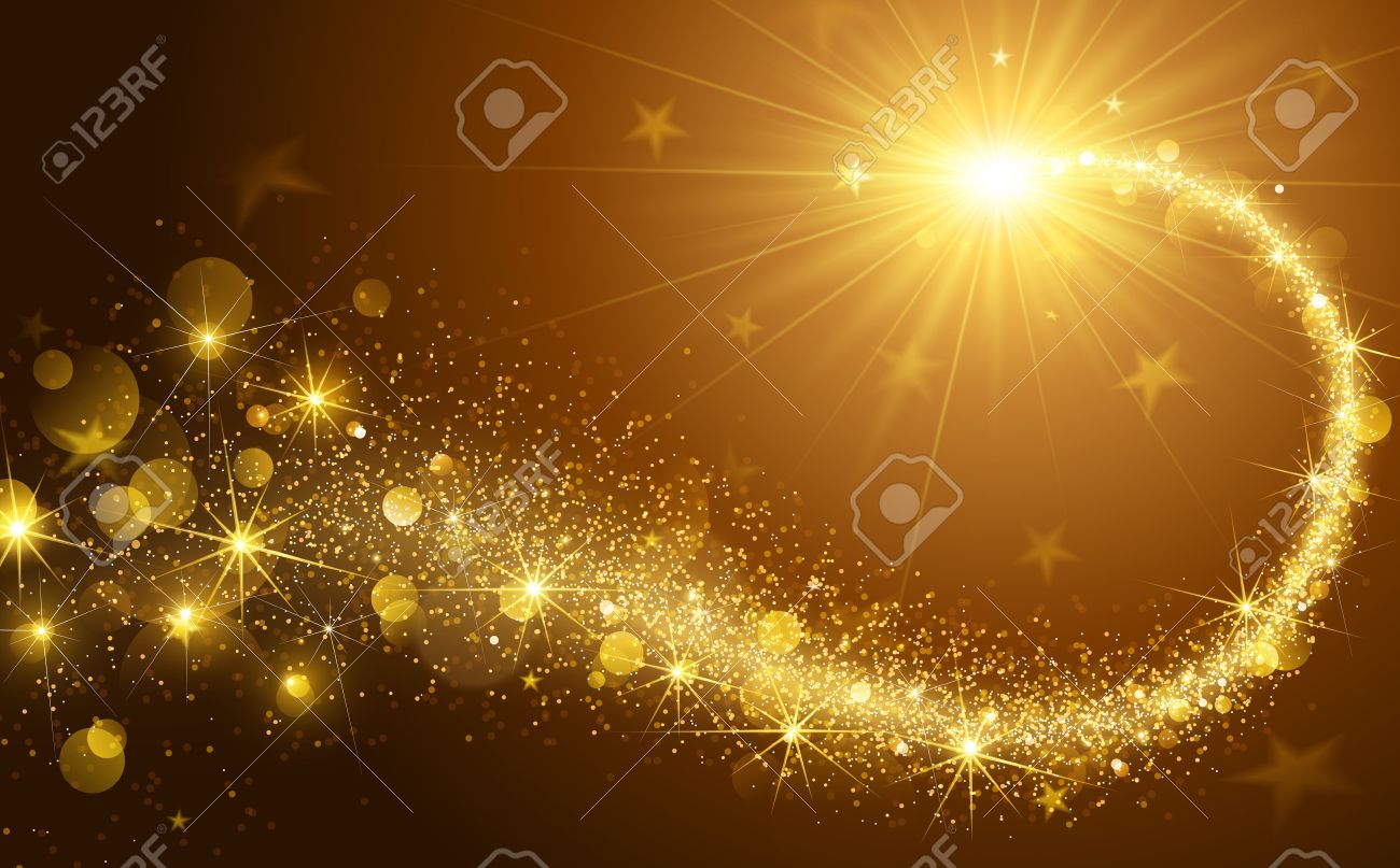 Christmas background with gold magic star. Vector illustration Standard-Bild - 46782135