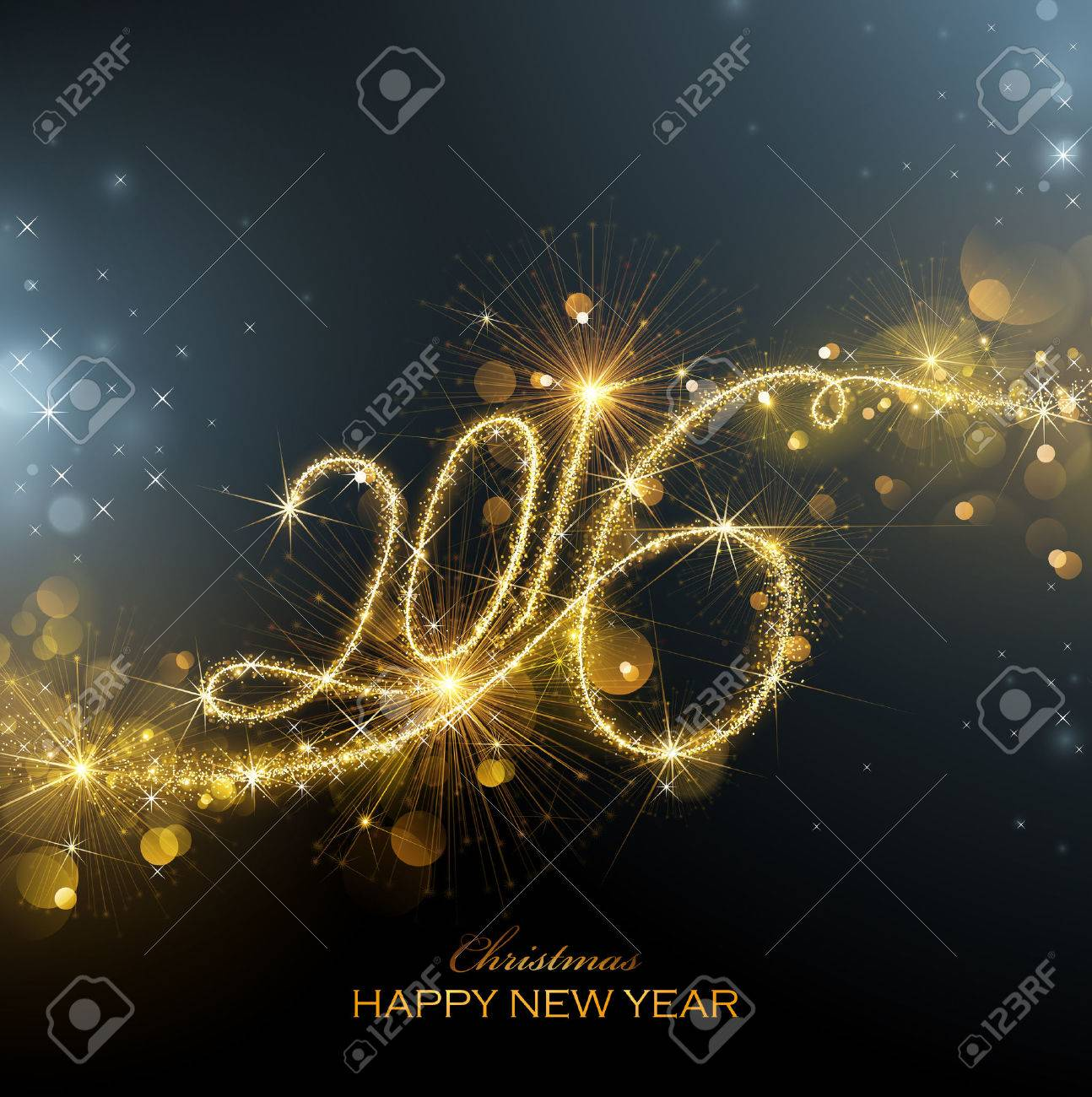 New Year fireworks and confetti 2016. Vector illustration. Standard-Bild - 46976639