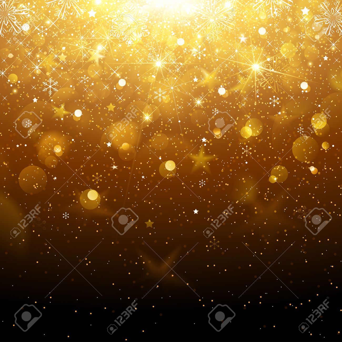 Christmas Gold Background with Snowflakes and Snow. Vector illustration Standard-Bild - 46976640