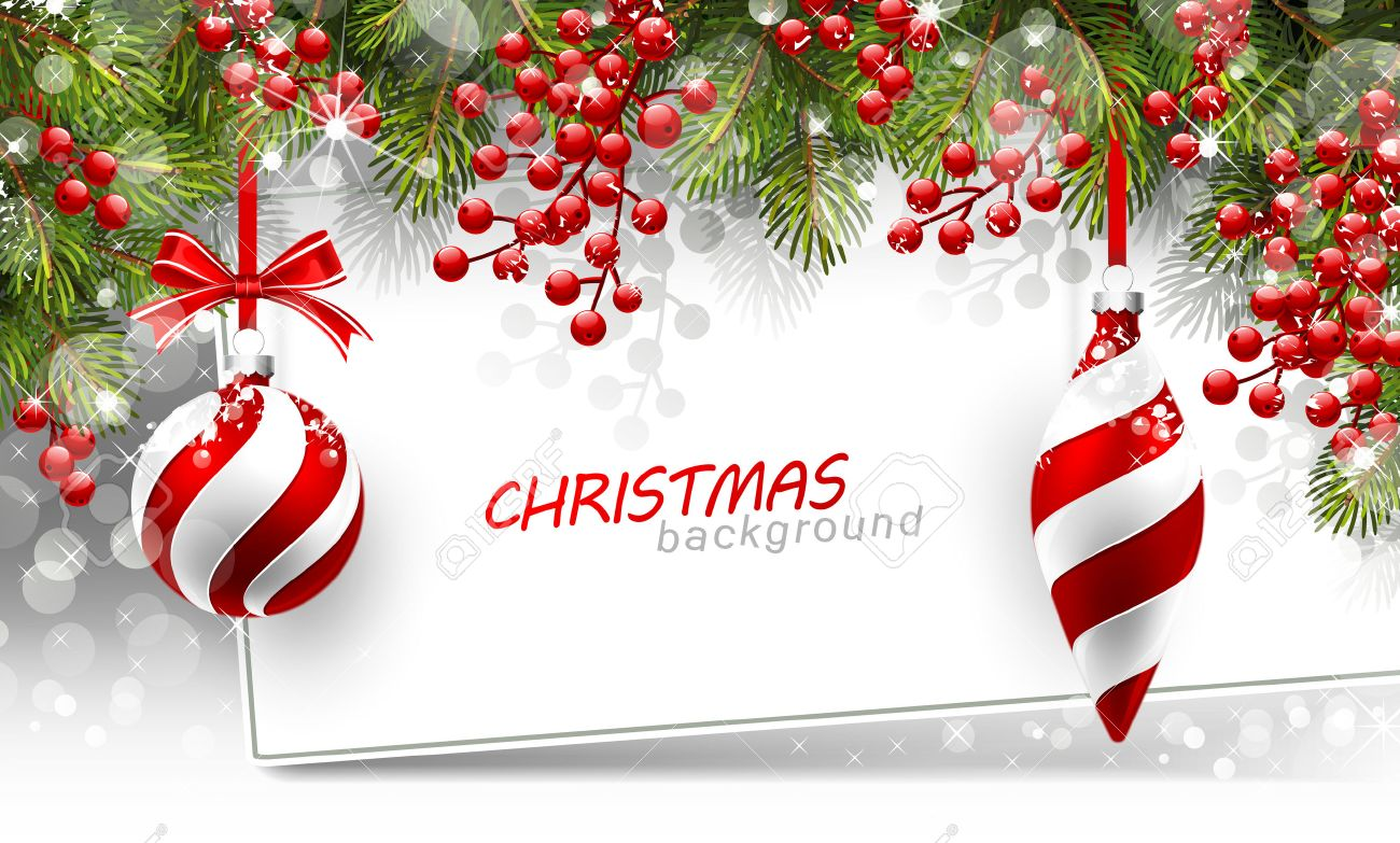 Christmas background with fir branches and red balls with decorations.  Vector illustration Standard-Bild - 46976651