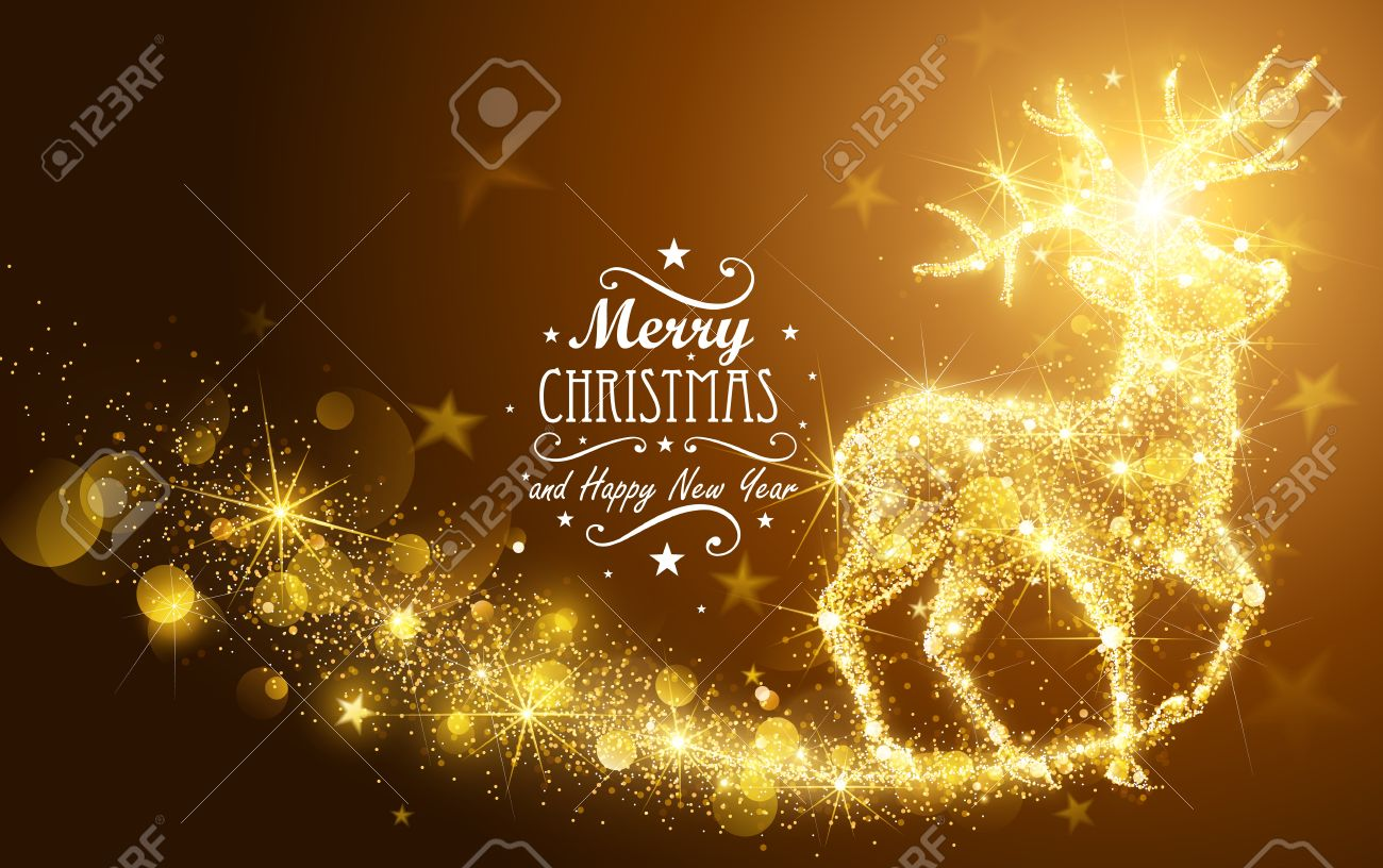 Christmas card with silhouette Magic Deer and flickering lights. Vector illustration Standard-Bild - 46976656