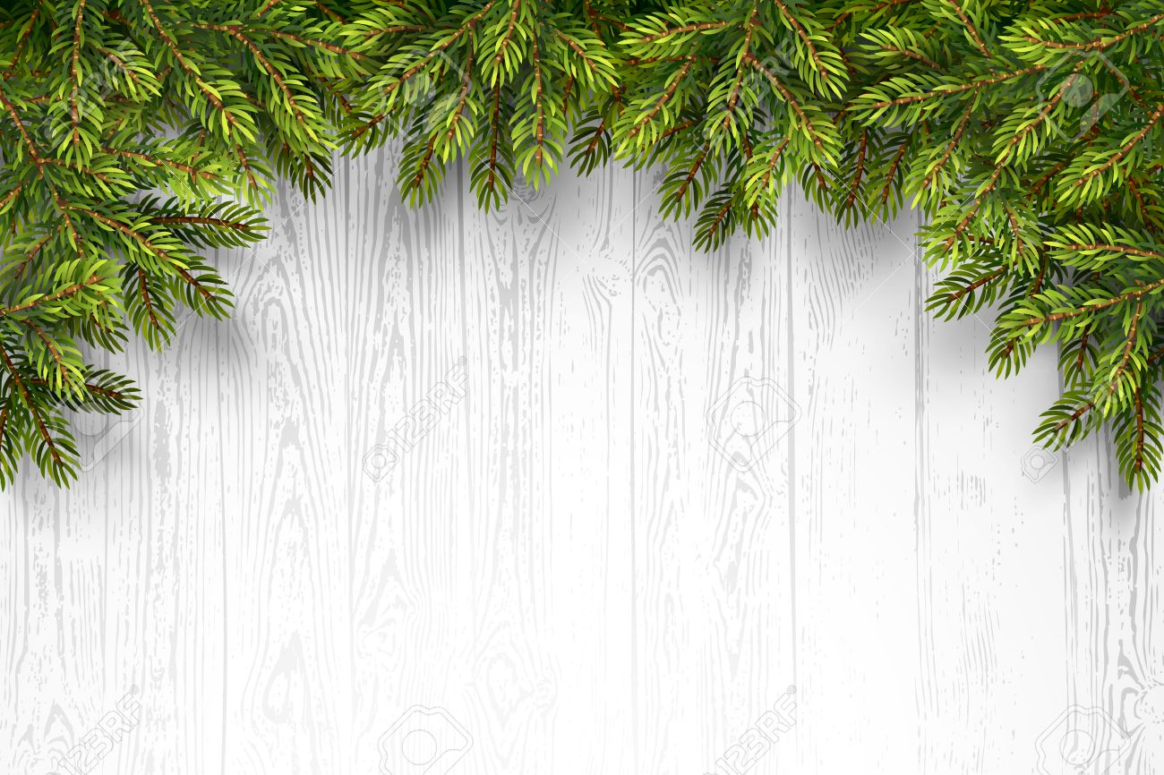 Christmas wooden background with fir branches. Vector illustration Standard-Bild - 46976658