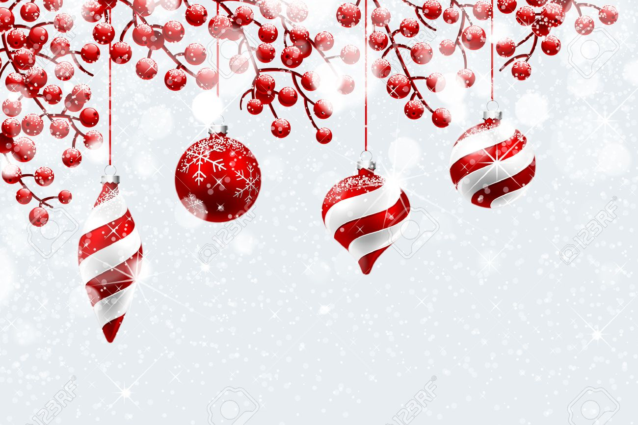 Christmas decoration with snow and bokeh effect. Vector illustration Standard-Bild - 46976659