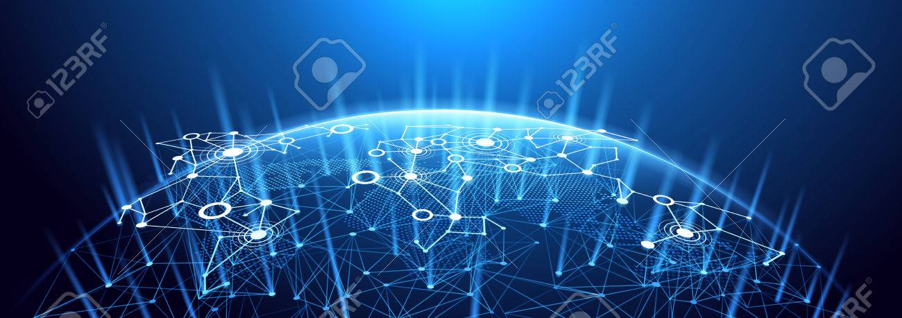 Global network background. World map point, international meaning. - 55029954