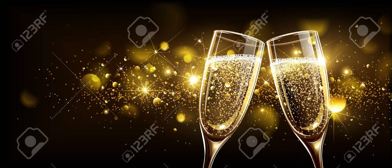 Glasses of champagne on bright background with bokeh effect. Vector illustration - 63946635