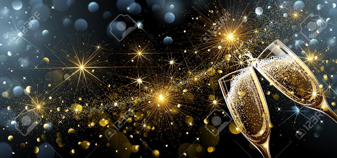 New Year fireworks and champagne glasses. Vector Standard-Bild - 64347771
