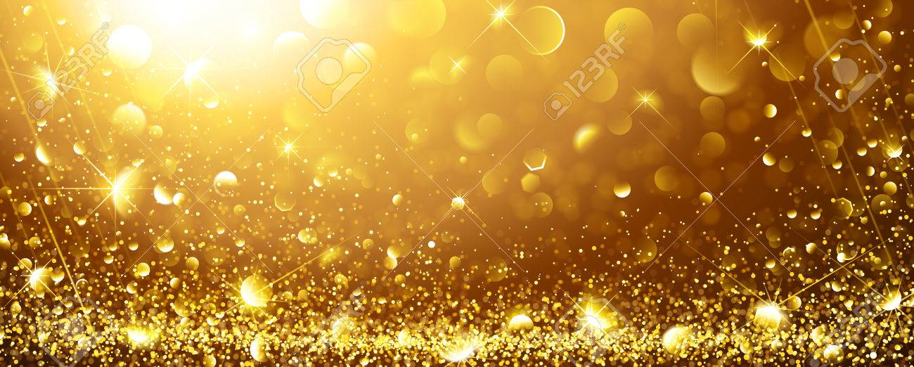 Christmas Gold Background with stars. Vector illustration - 68128943