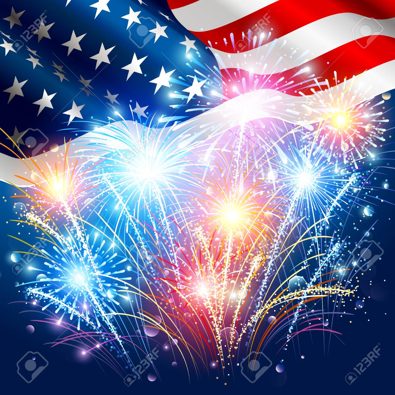 american flag with colored fireworks stock vector 79942371
