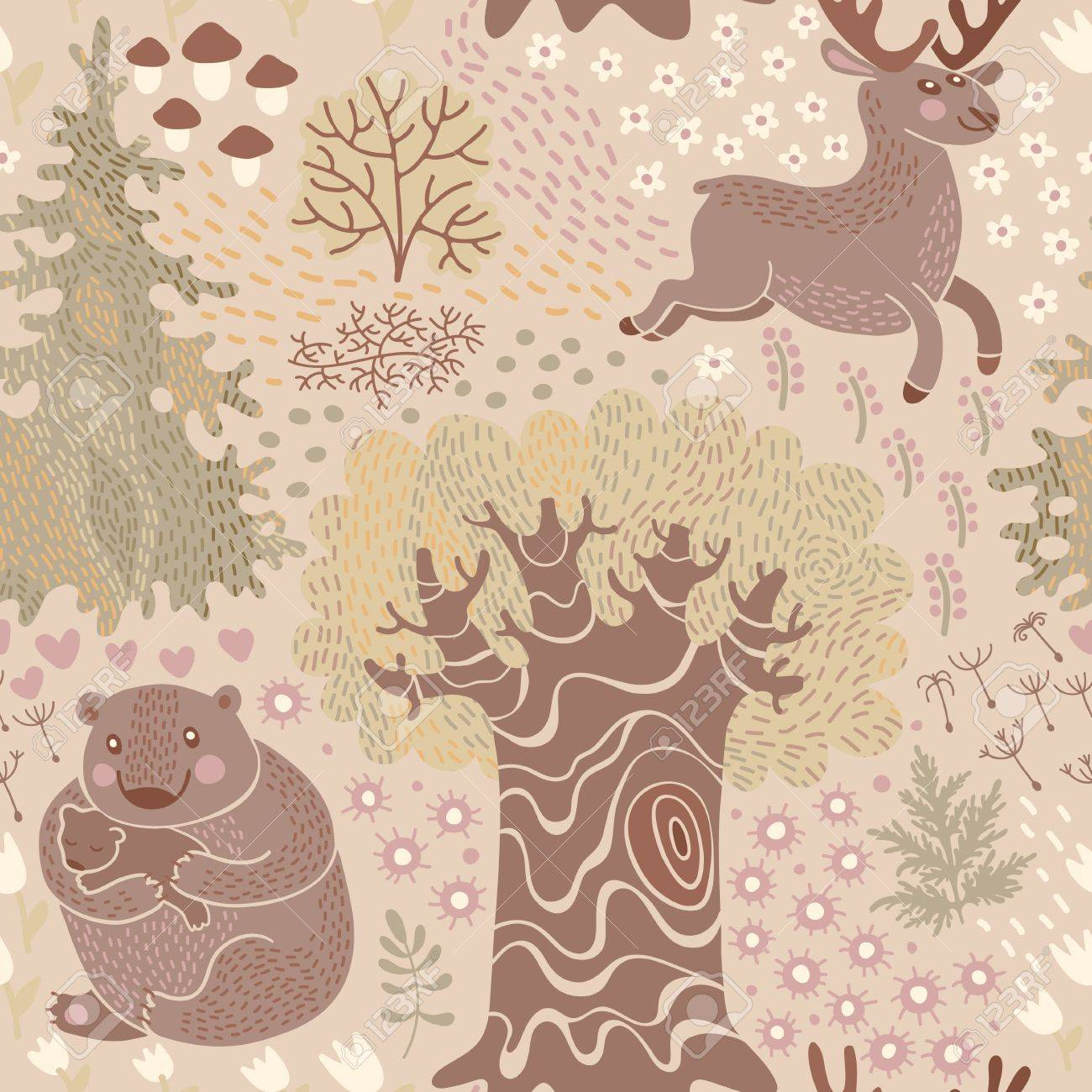 Seamless Pattern With Deer Bears In The Woods Perfect For A