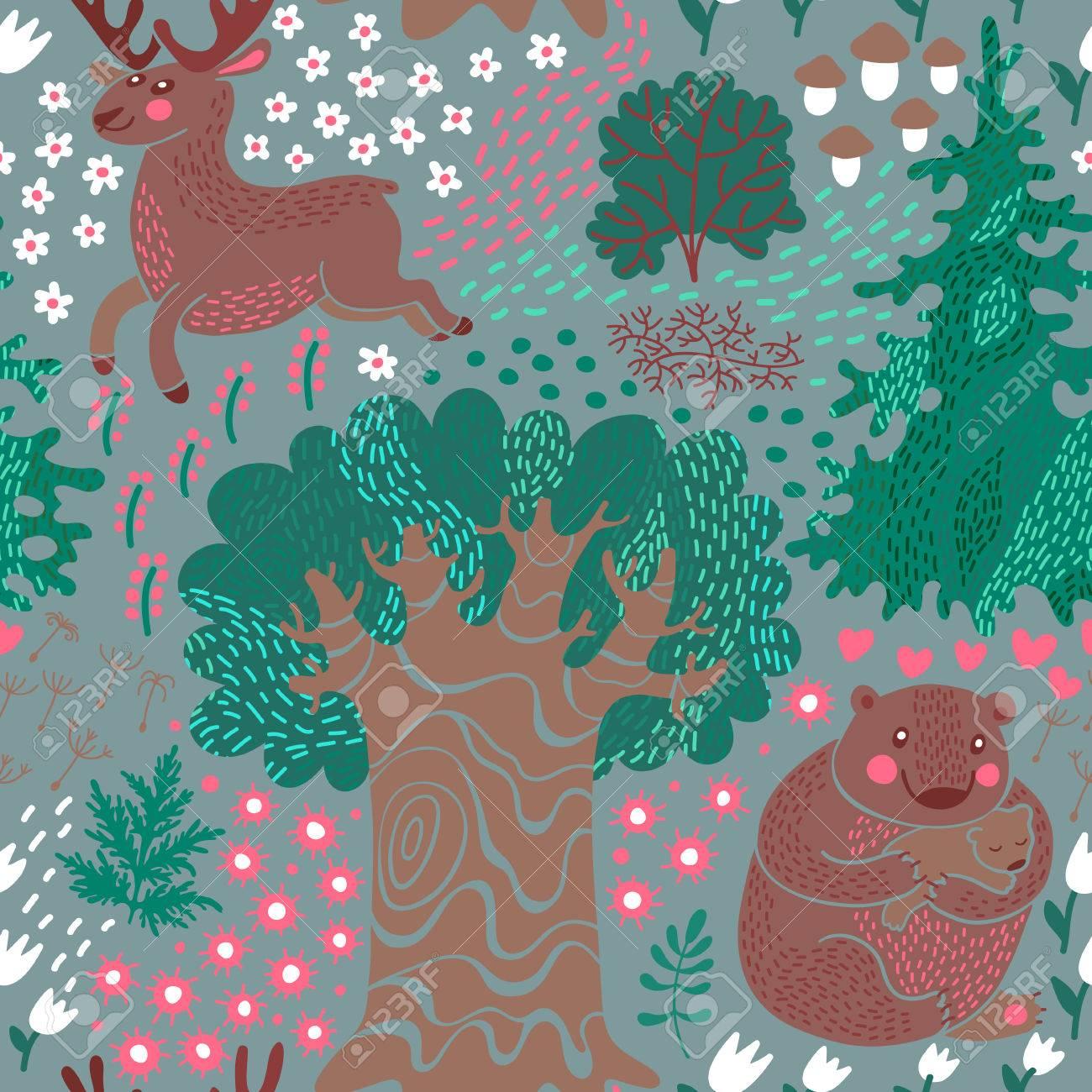 シカとのシームレスなパターン森の中でクマに最適な子供 S の部屋の