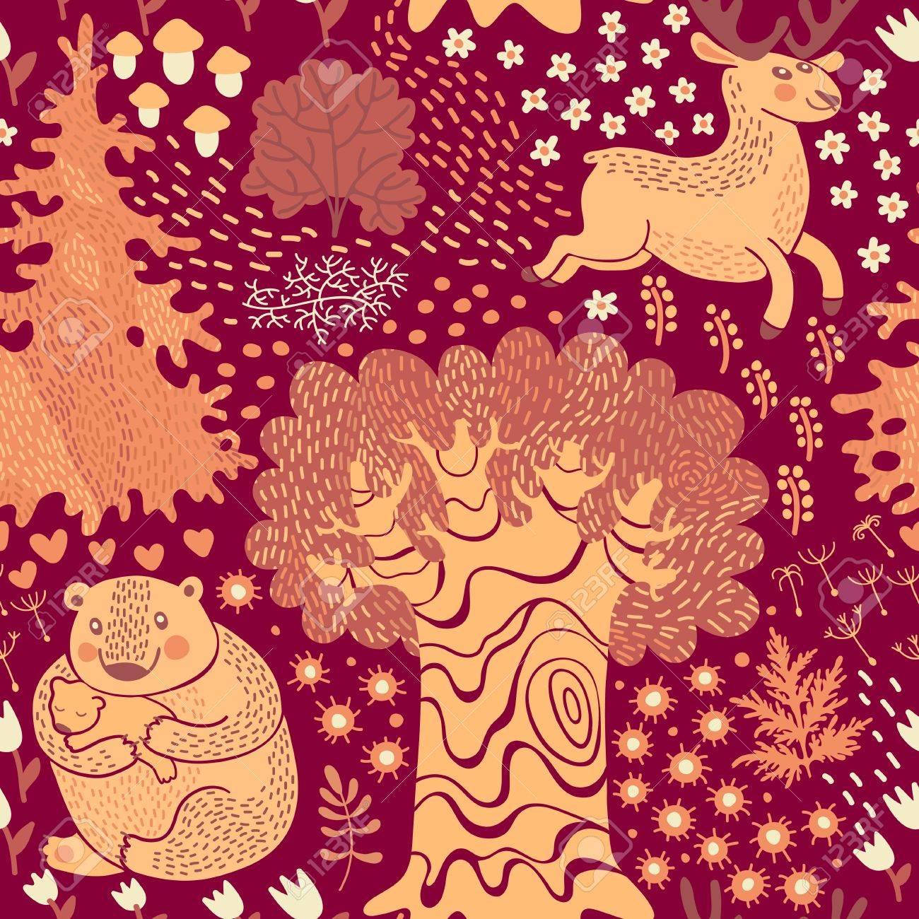 鹿森の中でクマとのシームレスなパターン子供の部屋のデザイン 壁紙