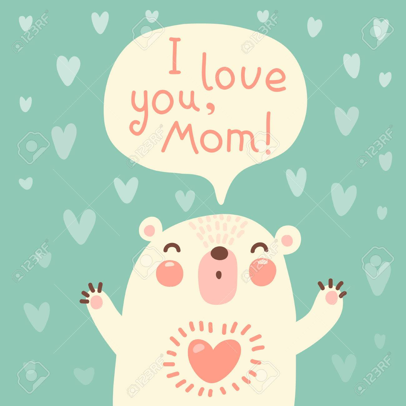 Greeting Card For Mom With Cute Bear Vector Illustration Royalty