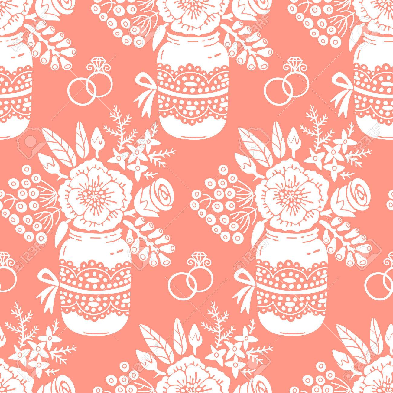 Vintage Seamless Pattern With A Bouquet Of Flowers And Wedding ...