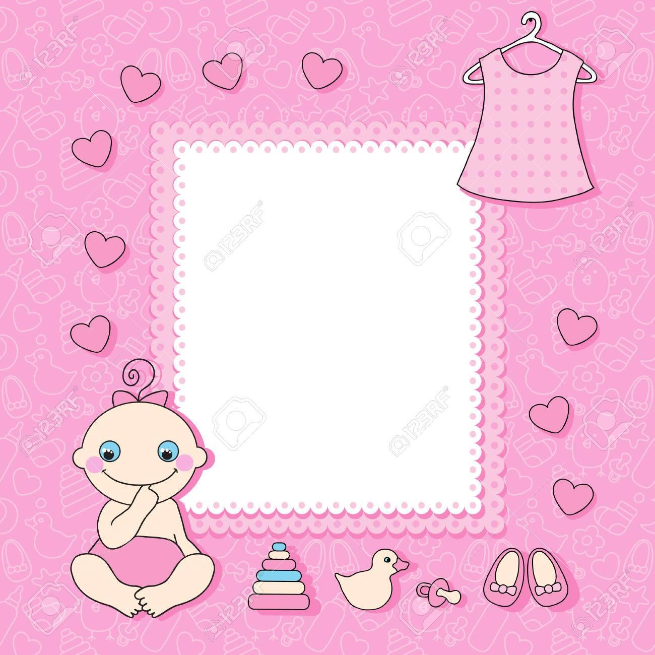 Sweet Baby Girl Announcement Card Style Cartoon Illustration Royalty ...