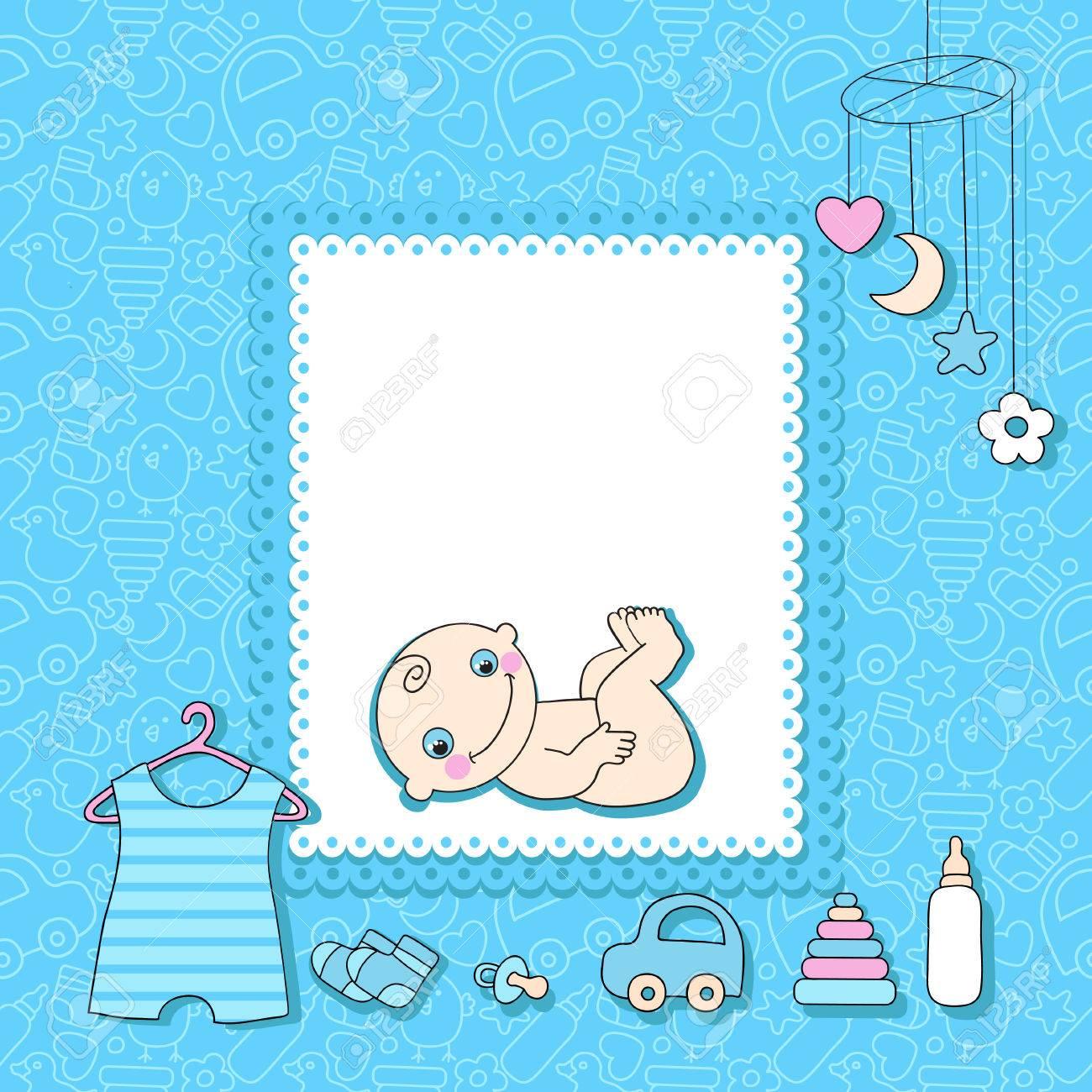 sweet baby boy announcement card style cartoon illustration royalty