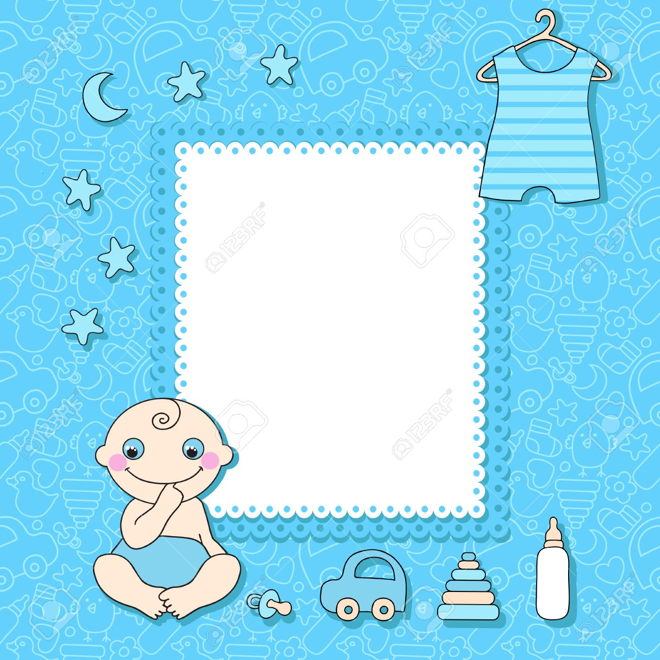 Sweet Baby Boy Announcement Card Style Cartoon Royalty Free ...
