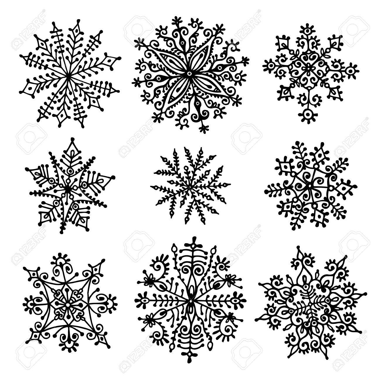 hand drawn snowflakes design elements vector isolated set stock vector 32081231